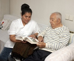 Belk AL geriatric nurse with patient